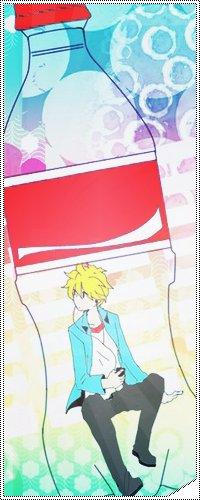 Аватар вконтакте Вокалоид Кагамине Лен в бутылочке с красной этикеткой и крышкой