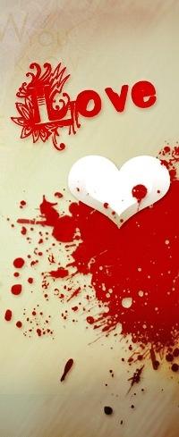 Обои Белое сердце на фоне красного пятна (LOVE)