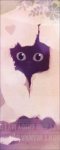 Аватар вконтакте Котик выглядывает из прорезанного отверстия в коробке