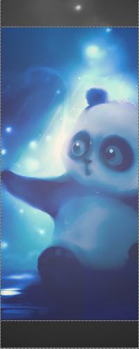 Аватар вконтакте Панда в синем сиянии удивленно смотрит и протягивает лапку в сторону