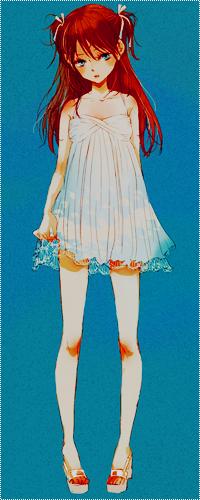 Аватар вконтакте Asuka / Аска из аниме Евангелион / Evangelion в лёгком белом платьице на синем фоне