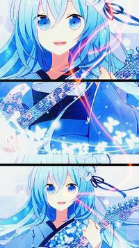 Аватар вконтакте Vocaloid Hatsune Miku / Вокалоид Хатсуне Мику с гитарой в руках и светящиеся бабочки