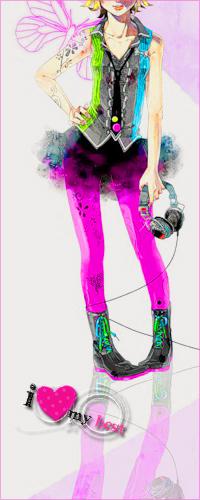 Аватар вконтакте Vocaloid Kagamine Rin / Вокалоид Кагамине Рин в стиле трэш с наушниками в руке (i love my best)