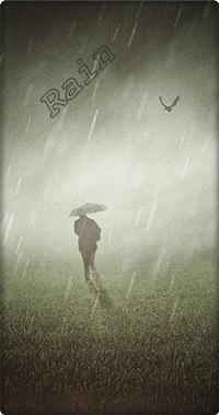 Аватар вконтакте Силуэт мужчины с зонтом под дождем (Rain / дождь)