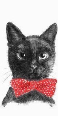 99px.ru аватар Нарисованный графитом кот. На шее у него красная бабочка с принтом сердечки