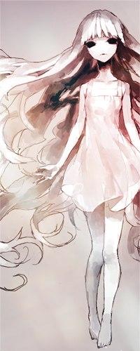Аниме девушка с белыми длинными волосами