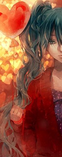99px.ru аватар Vocaloid Hatsune Miku / Вокалоид Хатсуне Мику держит шарик в форме сердца в руке