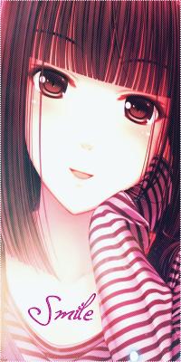 Аватар вконтакте Анимешная девочка в полосатой кофточке подпёрла голову рукой и улыбается (Улыбка / Smile)