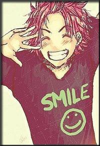 Аватар вконтакте Natsu Dragneel / Нацу Драгнил из аниме Fairy Tail / Хвост Феи у которого на футболке улыбка / smile