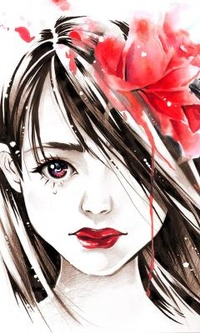 Обои Девушка с красными губами и красным цветком в волосах