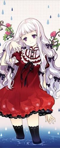Аниме девочка с белыми волосами в платье