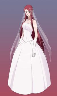 Аниме арт девушка в свадебном платье