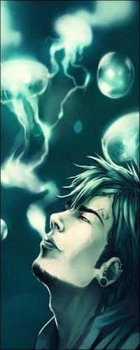 Аватар вконтакте Парень с серьгами на ушах курит, дым в виде медуз