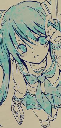 Аватар вконтакте Vocaloid Hatsune Miku / Вокалоид Хатсуне Мику в школьной форме с сумкой держится за поручень