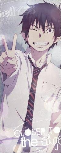 Аватар вконтакте Okumura Rin / Окумура Рин - главный герой аниме Синий Экзорцист / Blue Exorcist / Ao no Exorcist улыбается, подмигивает и показывает пальцами знак мира / peace sign (hellYES closer to the edge)