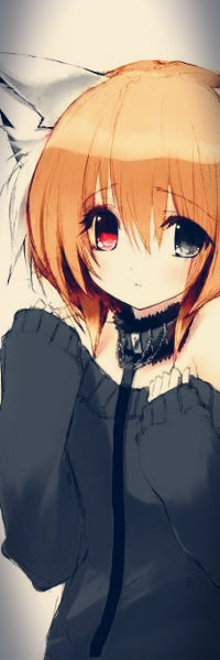 Аватар вконтакте Неко-девочка с рыжими волосами и разноцветными глазами - один красный, другой серый, в серой кофте и ошейнике на поводке