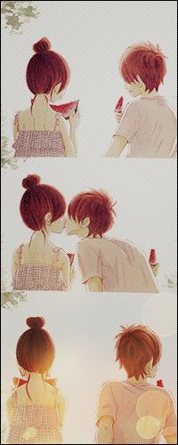 Аватар вконтакте Нанами Такахаси и Мотохару Яно / Nanami Takahasi and Motoharu Yano из аниме Это были мы / Bokura ga Ita едят арбуз и целуются