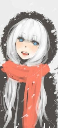 Аватар вконтакте Улыбающаяся девушка с ярко-голубыми глазами и белыми волосами в пальто с капюшоном и красном шарфе
