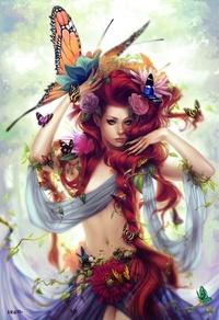 Аватар вконтакте Девушка с длинной рыжей косой, огромной бабочкой на голове и цветами в волосах