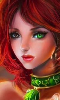 Аватар вконтакте Девушка с красными волосами, разноцветными глазами и зеленым колье на шее