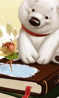 Аватар вконтакте Белый медведь сидит на книжке и смотрит на танцующую фею