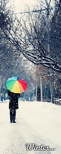 Аватар вконтакте Девушка зимой прячется под радужным зонтом от падающего снега (Winter... / Зима...)