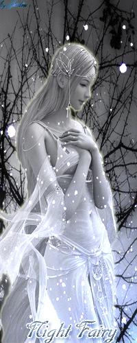 Аватар вконтакте Ночная фея стоит в темном лесу и смотрит как падает снег (Night Fairy)