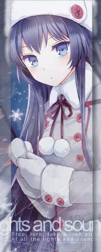 Аватар вконтакте Голубоглазая анимешная девушка с тёмно-синими волосами зимой, арт мангаки Nardack