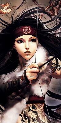 Аватар вконтакте Девушка с развивающимися волосами на ветру натягивает тетиву лука из игры  Jx Online