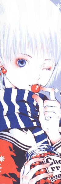 Аватар вконтакте Девушка альбинос с голубыми глазами в полосатом шарфе зимой подмигивает и ест вишню из банки, из иллюстраций художницы Такуджи Нао / Art by Nao Tukiji (Greenglass)