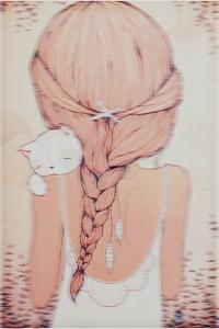 Девушка с котом нарисованная