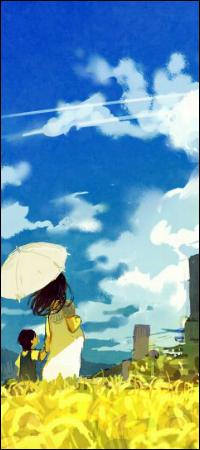 Аватар вконтакте Мать с ребенком под зонтиком смотрят на небо, стоя в поле среди желтых цветов