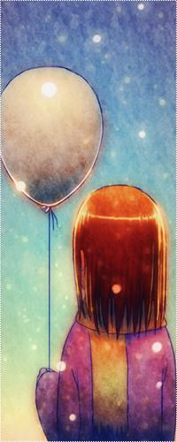 Аватар вконтакте Девочка с воздушным шариком в руке смотри на небо зимним вечером в снегопад