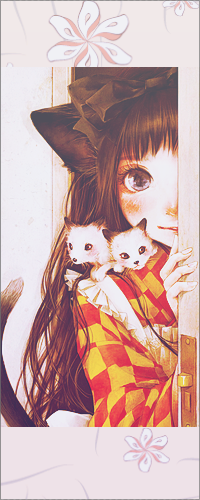 Аватар вконтакте Неко-девочка с двумя котятами на плече выглядывает из-за двери