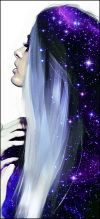 Аватар вконтакте Девушка приподняла голову, в ее волосах галактика и звезды