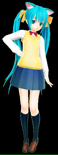 Аватар вконтакте Vocaloid Hatsune Miku / Вокалоид Хацунэ Мику с неко-ушками в школьной форме