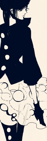 Аватар вконтакте Темноволосая девушка в застегнутом пиджаке на круглых пуговицах, юбке и чулках, руки в перчатках, art by Sadlers из галереи Surgery And Dorlis