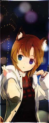 Аватар вконтакте Neko Girl / Неко-девочка зимней ночью в расстегнутом пальто поправляет капюшон