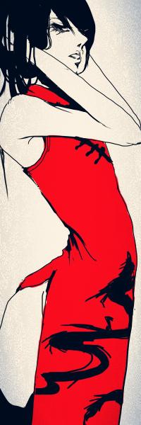 Аватар вконтакте Темноволосая девушка с закрытыми глазами, одетая в ярко красное платье с черным китайским драконом, держится руками за голову, art by Sadlers из галереи Surgery And Dorlis