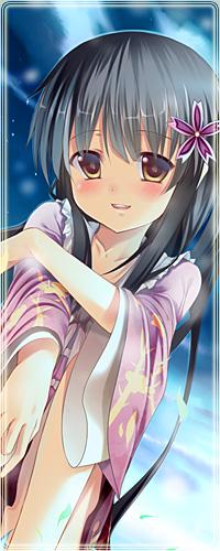 Аватар вконтакте Кагуя Хорайсан / Kaguya Houraisan с фиолетовым цветком в волосах сидит на фоне ночного неба и улыбается, из серии компьютерных игр Тохо / Touhou Project