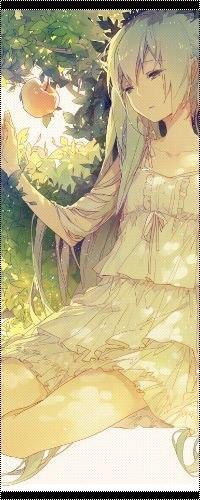 Аватар вконтакте Грустная Вокалоид Хацунэ Мику / Vocaloid Hatsune Miku сидит под яблоней