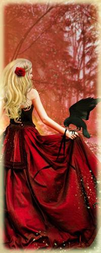 Девушка с красной розой в волосах