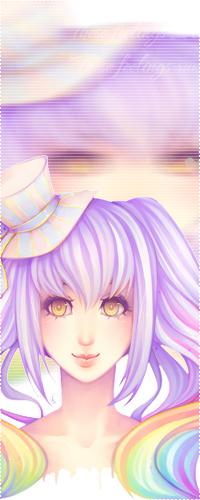 Аватар вконтакте Девушка с сиренево-радужными волосами в шляпке улыбается