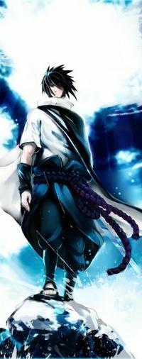 Аватар вконтакте Sasuke Uhiha / Саске Учиха из аниме Naruto / Наруто с мечом в руках стоит на камне на фоне голубого неба