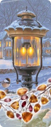 Аватар вконтакте Заснеженный фонарь на фоне дороги и дома, художник Darrell Bush / Даррел Буш