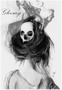 99px.ru аватар Девушка с черепом в волосах повернулась спиной (Gloomy / Мрачный)