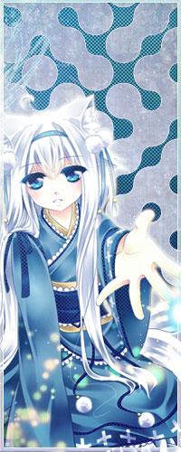 Аватар вконтакте Neko Girl / Неко-девушка в голубом кимоно и лентой в волосах протягивает руку вперед