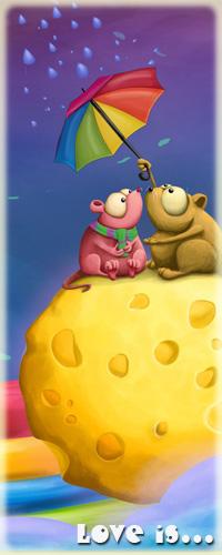 Аватар вконтакте Два существа, похожие на мышей, с большими круглыми глазами сидят на большом куске сыра, в руках одно существо держит зонт, прикрывая от дождя свою вторую половинку (Love is / Любовь это)