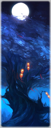 99px.ru аватар Дерево, на котором висят фонарики, на фоне ночного неба и полной луны