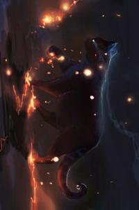 Аватар вконтакте Черный кот идет вперед, его лапы светятся красным пламенем, art by Apofiss